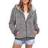 JUTOO Frauen Plus Größe beiläufige Tasche mit Kapuze Parka Outwear Strickjacke Mantel(Grau,Small)