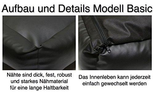 "Hundekissen, Hundebett, Hundesofa, Hundekorb, Kunstleder ""BASIC"" (Hellgrau/Türkis, XL – 120x90x18cm Liegefläche : 95x65cm) - 4"