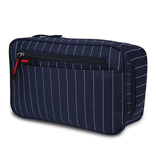 Uomini Borsa Cosmetica da Viaggio Toilette Trunk Case Zipper Striped Make Up Organizer Borsa di Lavaggio, Nylon Oxford Impermeabile(Dark Blue Stripes)