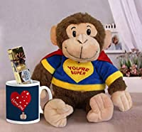 TIED RIBBONS Best Valentines Day Gifts for Husband,Wife, Men, Girlfriend, Boyfriend Gift Pack Combo (Super Monkey Teddy with Ferrero Rocher Chocolate Box of 4 Pieces and Coffee Mug)