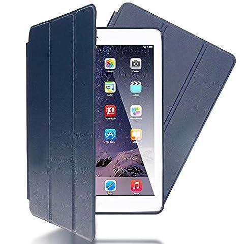 nica Etui Coque Apple iPad Air 1 Tablette Protection Case Slim Durable Cover - Fonction Veille / Allumage Automatique - Bleu Sombre