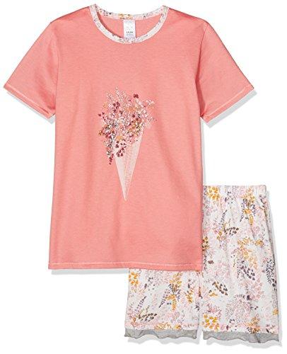 Calida Mädchen Zweiteiliger Schlafanzug Flower Power Pyjama Kurz Weiß (Star White 910), 140 (2 Teiliger Schlafanzug Kurzer Mädchen)