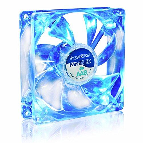 AAB Cooling Super Silent Fan 9 Blue LED - Leise und Efizient 92mm Gehäuselüfter mit 4 Anti-Vibration-Pads und Blauer LED Hintergrundbeleuchtung - CPU Lüfter, PC Fan, Cooling Lüfter, Kühlung
