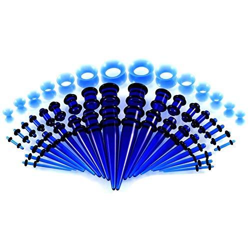 ele ELEOPTION Ohrdehner Set Ohr Taper 18 Paare Dehnstäbe Set Acryl Silikon Ohrpiercing 1,6mm-10mm mit 7 Paare Flared Tunnel Plug set 3mm-12mm (Blau) Blau 11