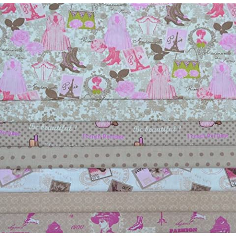 Set de telas - 7 telas (Colección ELEGANCIA - marrón y rosa) - colección de telas de coordinación (pequeños diseños) | 100% algodón | 46 x 56 cm