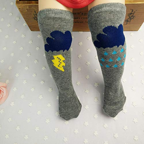 ild High Tube Cartoon Socken Lightning Cloud Niedliche Kniestrümpfe 2 STK ()