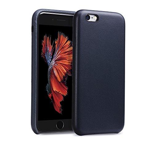 GMYLE echtes leder ultradünnes Premium Cover Case für iPhone 6 / 6s - in um Ihr iPhone optimal zu schützen - Schutzhülle mit hochwertiger Lederoptik - Rote Navy Blue