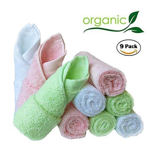 Bambus Baby Waschlappen natürlichen Bio-Baby-Gesicht Handtücher-wieder verwendbar und extra weiche Neugeborene Baby Bad Waschlappen-geeignet für sensible Haut Baby Registry als Dusch Geschenk Set 9 Pack 25x25cm