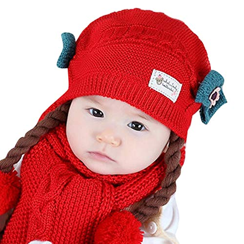 FeiliandaJJ Mütze + Schal Neugeborenes Baby Mütze Mädchen 100% Baumwolle Verdicken Doppelschicht Gestrickte Häkeln Beanie Winter Warmhalten Hut (A) - Aus Mütze Baumwolle Gestrickte