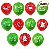 Latex Luftballons für Weihnachten, Rot und Grün, 100 Stück - Saisonaler Dekoration - bestens für Weihnachtspartys, Kinderpartys und Kindergeburtstage geeignet