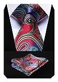 HISDERN Panuelo de lazo de boda Paisley floral Panuelo de corbata de hombre y conjunto de bolsillo...