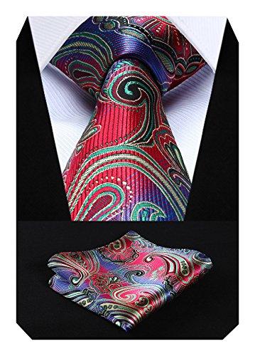 Hisdern Herren Krawatte Blumen Paisley Krawatte & Einstecktuch Set Rot gr¨¹n