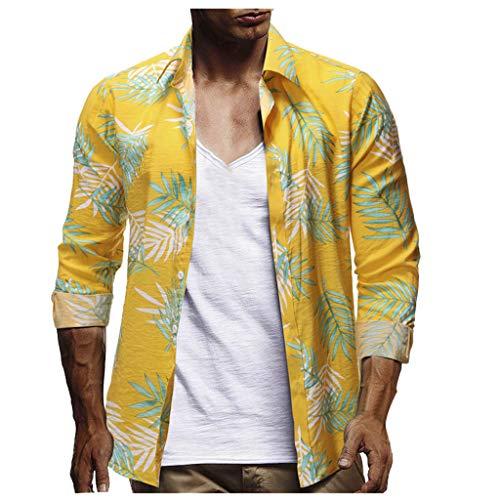 UINGKID Herren T-Shirt Kurzarm Slim fit Mode für Männer Casual Button Hawaii Print Strand Quick Dry Top Bluse