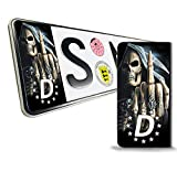 Skino 2 x Vinyl Aufkleber Nummernschild Kennzeichen JDM Tuning Auto Motorrad Skull Schädel Totenkopf Stickers EU QV 13
