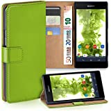 OneFlow Tasche für Sony Xperia Z1 Compact Hülle Cover mit Kartenfächern | Flip Case Etui Handyhülle zum Aufklappen | Handytasche Schutzhülle Zubehör Handy Schutz Bumper in Hellgrün