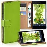 Sony Xperia Z1 Compact | Hülle Grün mit Karten-Fach [OneFlow 360° Book Klapp-Hülle] Handytasche Kunst-Leder Handyhülle für Sony Xperia Z1 Compact / Z1 Mini Case Flip Cover Schutzhülle Tasche