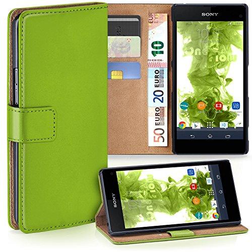 moex Sony Xperia Z1 Compact   Hülle Grün mit Karten-Fach 360° Book Klapp-Hülle Handytasche Kunst-Leder Handyhülle für Sony Xperia Z1 Compact / Z1 Mini Case Flip Cover Schutzhülle Tasche