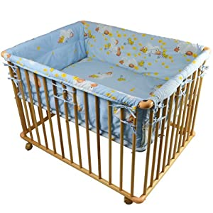 """Honey Bee"" Baby Wooden Playpen with Mattress and Bumper-100x75cm in Blue from Tiggo"