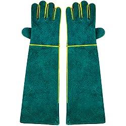 Nuzamas 1 paire de gants de soudure, 58 cm Longueur de l'épaule Split Vachette, doublé en mousse, Rouge Long pour MIG, TIG Soudeurs, BBQ, jardinage, Réchaud, cheminée