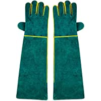 NUZAMAS 1par de guantes de soldadura, 58cm/23pulgadas Longitud Hombro, de espuma, de vaca Split extar largo para, TIG MIG soldadores, barbacoa, jardinería, camping, estufa, chimenea