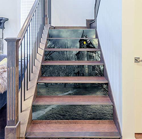 eber 6 Stück Halloween Stereo 3D Grau Burg Dekoration Aufkleber PVC Wasserdicht Selbstklebende Home Wandaufkleber 18 * 100cm ()