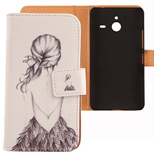 Lankashi PU Flip Leder Tasche Hülle Case Cover Schutz Handy Etui Skin Für Microsoft Lumia 640 XL Dual Sim 4G Back Girl Design