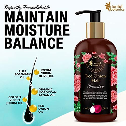 Oriental Botanics Red Onion Hair Shampoo, 300ml - With Biotin, Argan Oil, Caffeine, Protein, 27 Hair Boosters Controls Hair Loss & Promotes Healthy Hair Growth