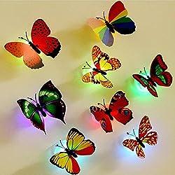 Colleer 12 Pezzi 3D Farfalle Adesivi Murali LED Decorativi Arte Adesivi da Parete DIY Multicolori Decorazione Casa Domestica