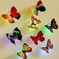 Colleer 3D Farfalle Adesivi Murali 1.Set di 12 pezzi farfalle con colore differente, aspetto carino che diventa una scelta ideale per decorare la casa. 2.Si illumina con luce multicolore grazie al design di LED, rende speciale e piacevole il ...