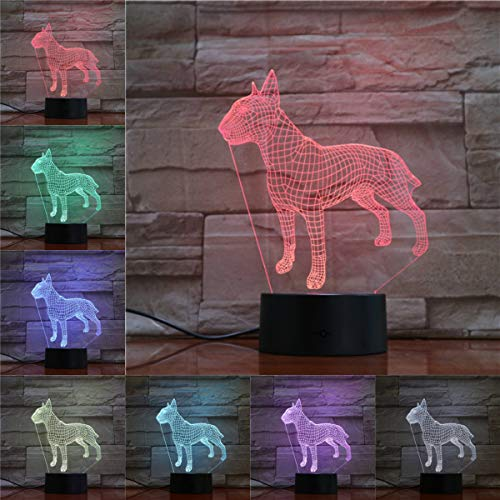 Led Lampe,Hund 3D Lampe Illusion Nachtlicht Led Birne Multicolor Atmosphäre American Pit Bull Terrier Weihnachtsgeschenke Für Kinder Kid Toy Black Base -