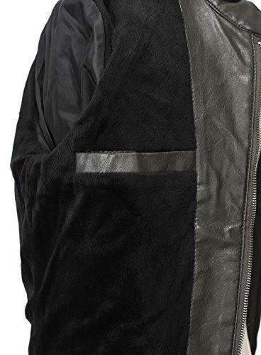 Free Side Homme Robuste Biker Faux Leather Jacket Vegan Gris