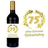 SHIRT-TO-GO Flaschenetikett zum 75. Geburtstag für Wein und Sektflaschen als Geschenkidee zum 75. Geburtstag