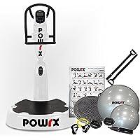 Preisvergleich für POWRX Vibrationsplatte mit Säule Pro Evolution 3.5 inkl. Zubehörpaket I Effektives Vibrationstraining I 3D Vibration Wie im Studio I 4 Farben I Jetzt mit App