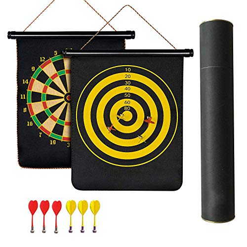 Popsugar 2 Sided 17-inch Roll Up Magnetic Dart Board Set with 6 Darts,