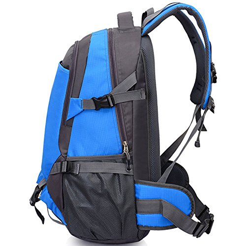 Joyousac Backpack Hiking Bag Large Travel Bag Unisex Sports Bag Water Resistant Outdoor Camping Bag Blue Blue