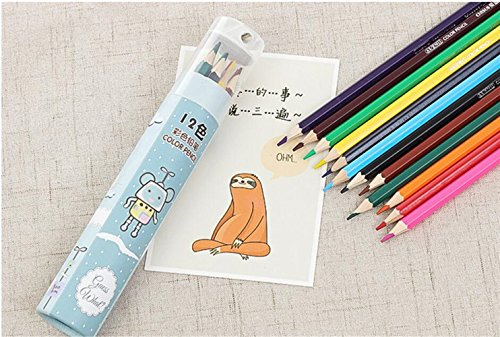 Personalisierte Bleistifte Farbstifte 1 Satz Cute Cartoon Coloring Bleistifte für Kinder, Pack 12 Assorted