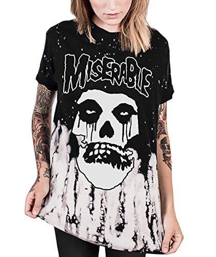 T-Shirt Damen Halloween Kurzarm Rundhals Mit Aufdruck Schädel Totenkopf Horror Festlich Unique T Shirt Basic Casual Sommer Top (Halloween 2017 Hip Kostüme Hop)