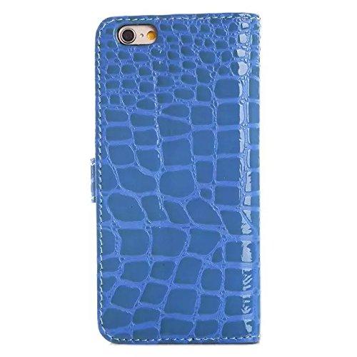 JIALUN-Telefon Fall Krokodil-Muster-Oberflächen-PU-lederner Kasten-Abdeckungs-Mappen-Standplatz-Fall für iphone 6 6s ( Color : Blue , Size : Iphone6 6s ) Blue