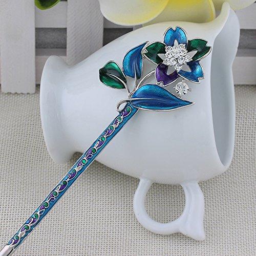 1 pièce de haute qualité, Bleu et Blanc procelain cristal fleurs Antique de cheveux, épingles à cheveux, cheveux, baguettes, Accessoire pour cheveux, mariage, Bijoux