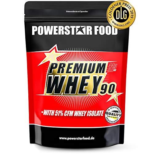 PREMIUM WHEY 90 | 90% Protein i.Tr. | 51% CFM Whey Isolat | Protein aus Weidenmilch | Nur 1% Kohlenhydrate | Ideal für Muskelaufbau & Abnehmen | Deutsche Herstellung | 850g | Strawberry