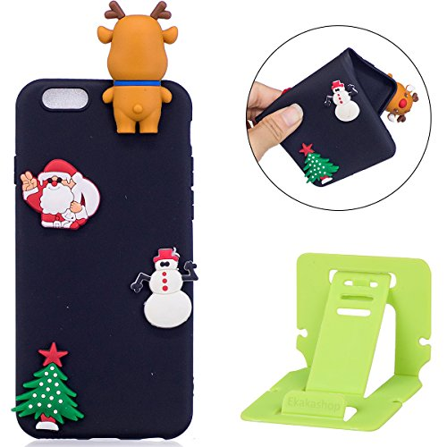 iphone 6S Silicone Cover, Cover per iphone 6S 4.7, Custodia iphone 6 Morbido, Ekakashop Fantasia Moda Painting Natale Colorata Pattern 3d Gel Cristallo Silicone Gomma Soft TPU Ragazza Women Cover Shoc Renna-Nero