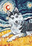 Godlove Home Garden Van Growl Siberian Husky 71,1 x 101,6 cm Decorativo Cucciolo Cane Ritratto Notte Stellata Bandiera