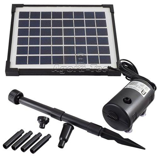 Agora-Tec® AT-5W Solar Teichpumpe 5 Watt Hmax.: 470l/h Fontainenhöhe: 0,65 m für Gartenteich oder Springbrunnen