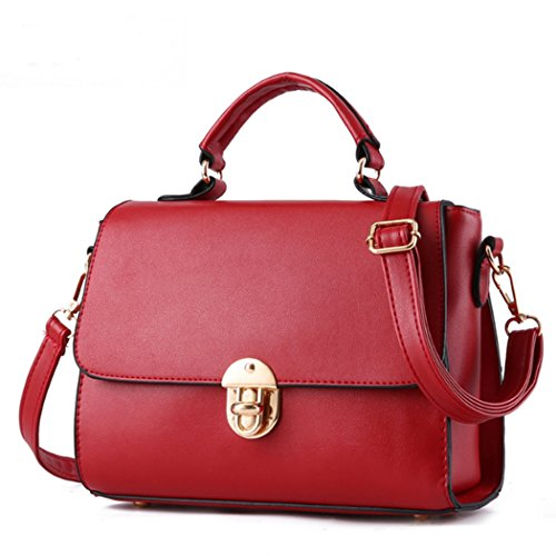 Sacchetto del messaggero di cuoio della borsa della borsa della borsa di cuoio delle donne Rosso