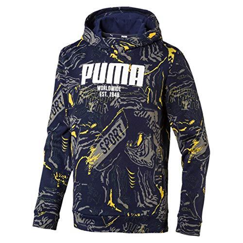 Puma Jungen Alpha AOP Hoody FL B Pullover, Peacoat, 152 Pullover Peacoat