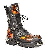 New Rock Botas de Cuero Cordones Zapatos Diseño de Llamas Estilo Gótico Retro...