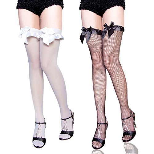 #Swallowuk Damen Sexy Mesh-Netzstrümpfe Kniestrümpfe Socken Fischnetz Knee High Socks mit Bowknot (Weiß+Schwarz)#