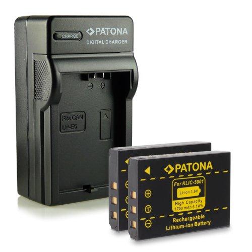 Neuheit - 4in1 Ladegerät mit micro USB Anschluss + 2x Akku wie Klic-5001 für Kodak Easyshare DX6490 | DX7440 | DX7590 | DX7630 | P712 | P850 | P880 | Z730 | Z760 | Z7590