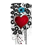 For Samsung Galaxy S6 Edge red heart, heart, black leaf, flower, white background