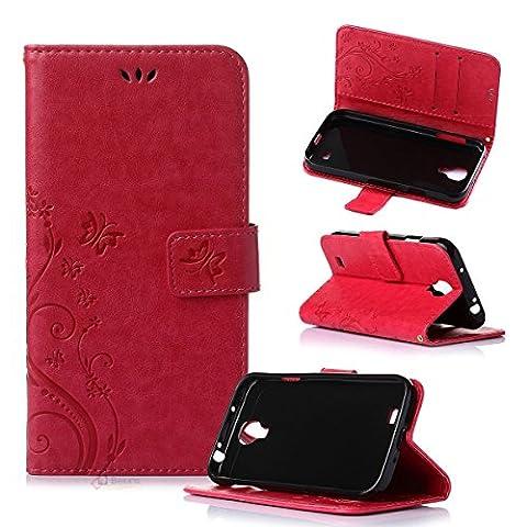 Beiuns Étui en Simili cuir pour Samsung Galaxy S4 Housse Coque - R155 rouge (pas pour Samsung S4 mini)